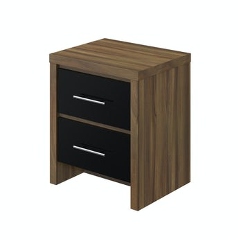 MFI London walnut and black gloss 2 drawer bedside