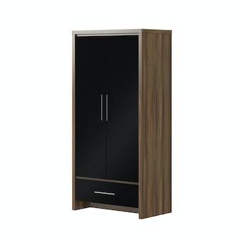 MFI London walnut and black gloss 2 door, 1 drawer wardrobe