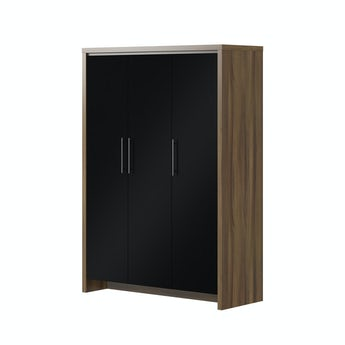 MFI London walnut and black gloss 3 door wardrobe