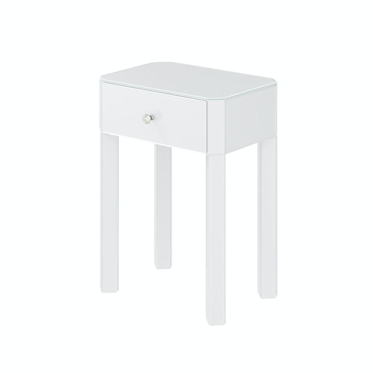 Paris White Glass 1 drawer bedside