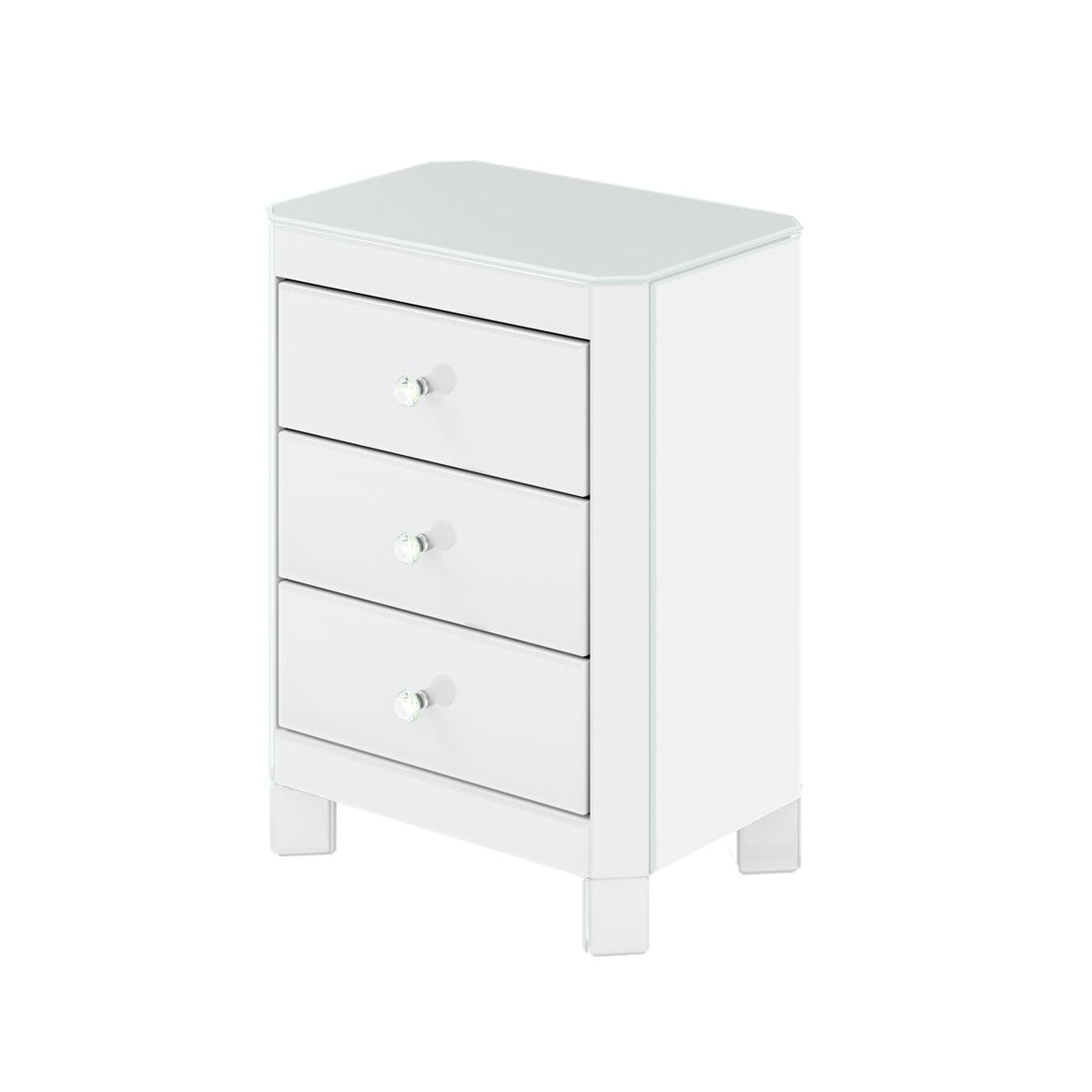 Paris White Glass 3 drawer bedside