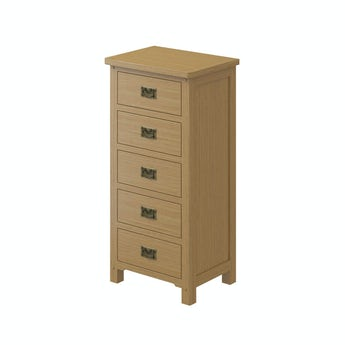 MFI Rome oak 5 drawer tall chest with mirror