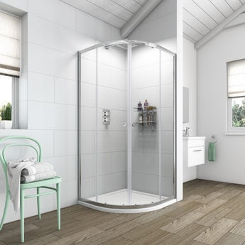 Clarity 6mm quadrant shower enclosure with shower tray 800 x 800