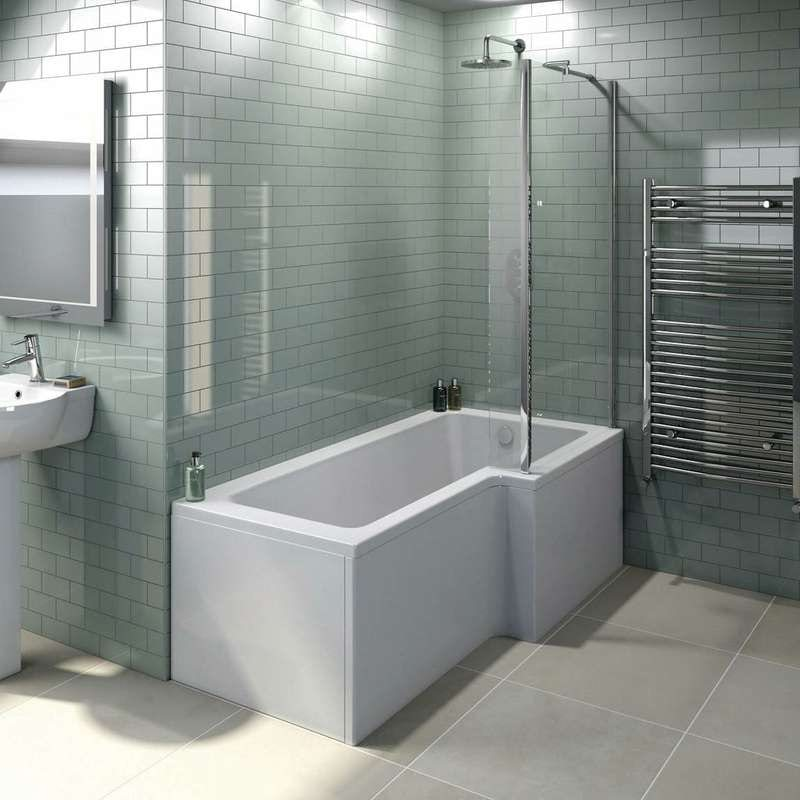 L shaped right handed shower bath
