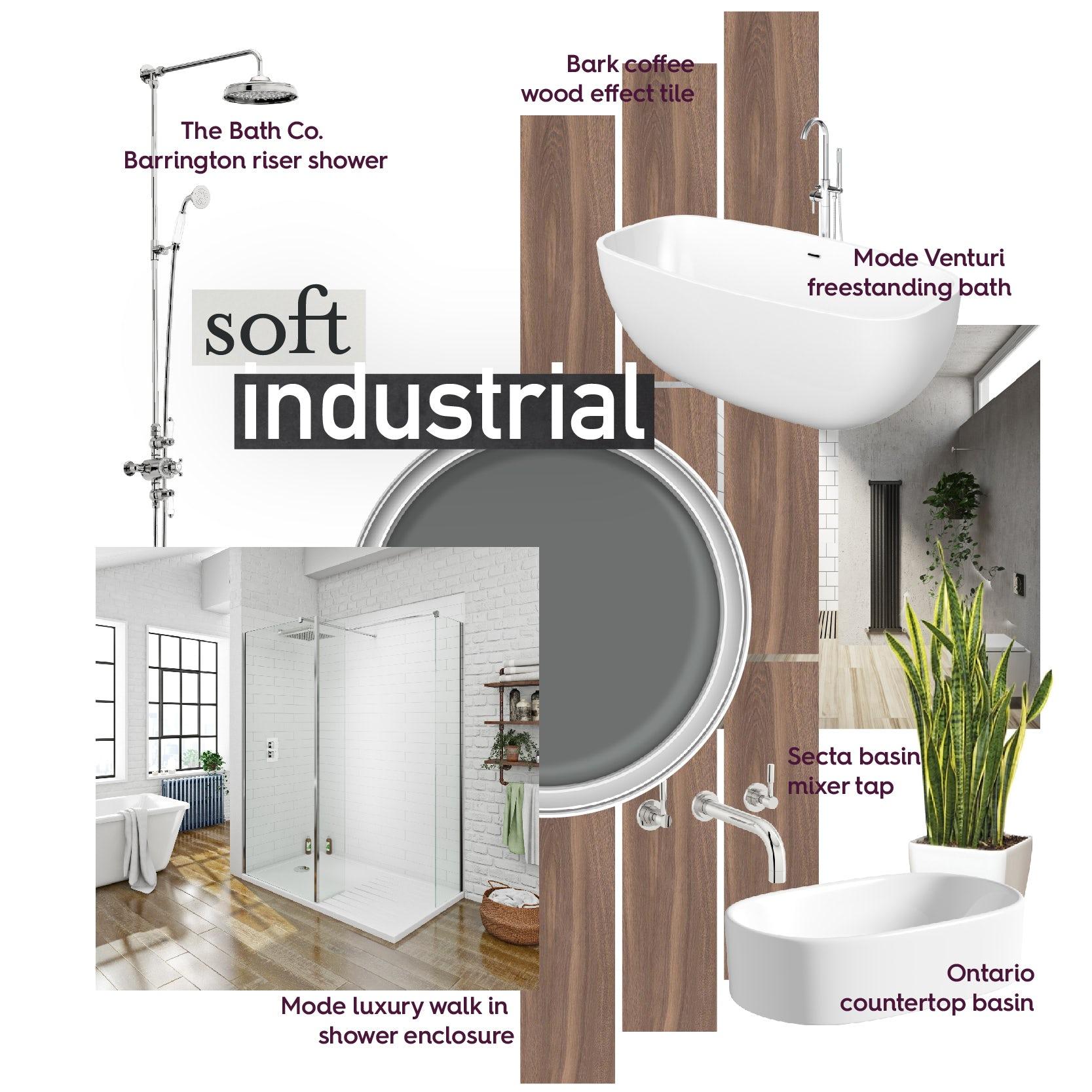 Soft industrial bathroom mood board