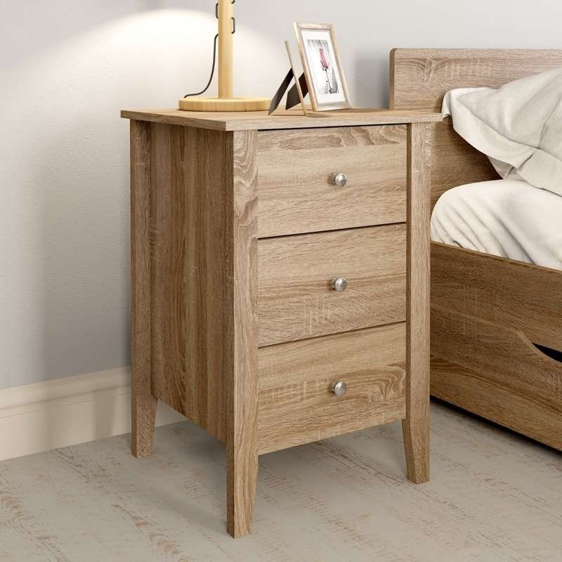 Sydney oak 3 drawer bedside