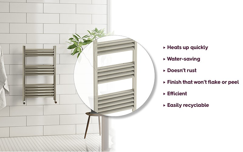 Champagne heated towel rail