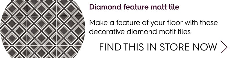 Diamond feature matt tile