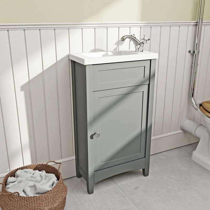 Gentil The Bath Co. Camberley Grey Cloakroom Vanity With Resin Basin