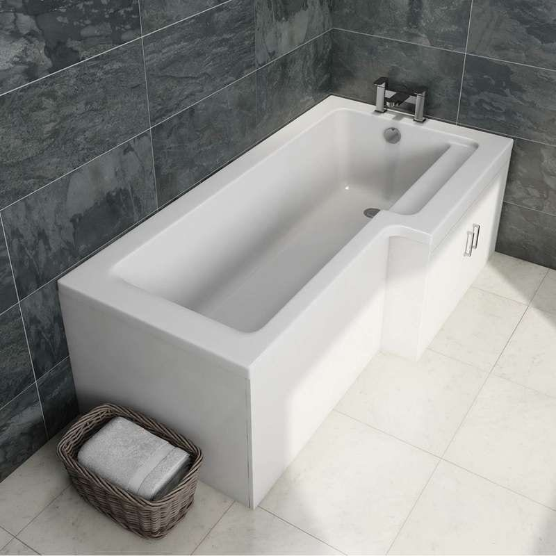 MySpace water saving right handed L shaped shower bath with storage panel