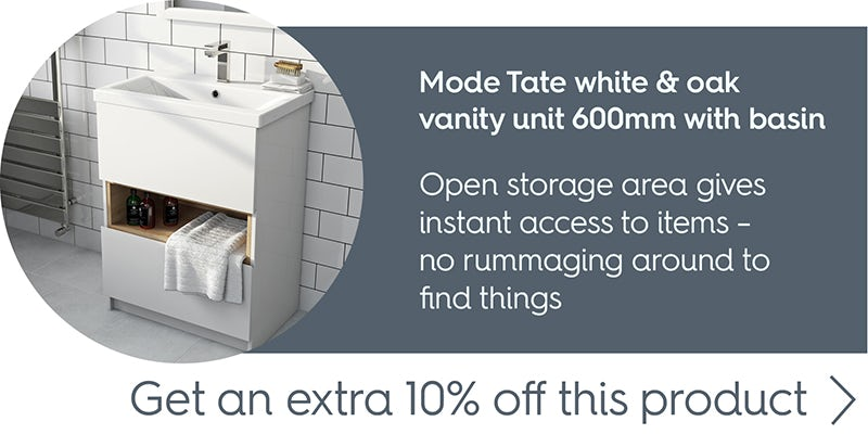 Mode Tate white & oak vanity unit 600mm with basin