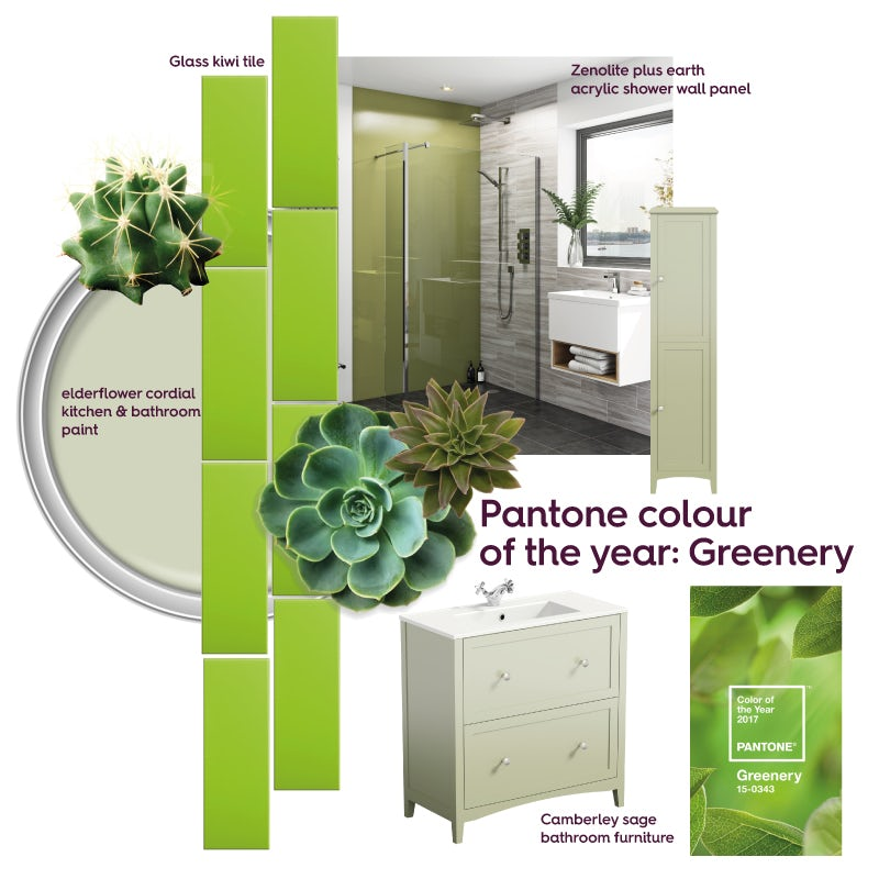 Green bathroom ideas mood board