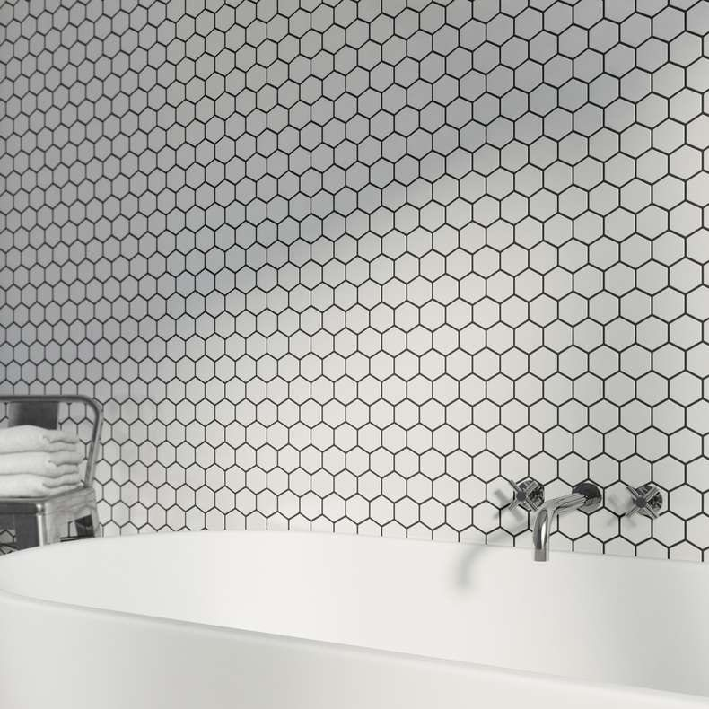 mosaic hex white tile - Bathroom Tiles Images