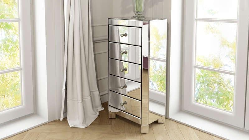 Paris mirror glass 5 drawer tall chest