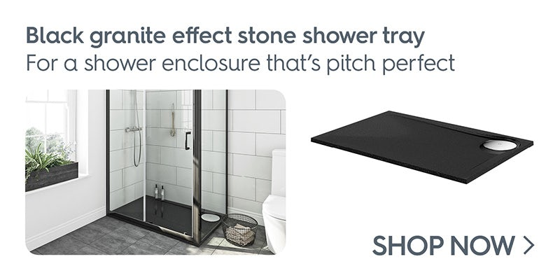 Mode black granite effect left handed rectangular stone shower tray 1200 x 800