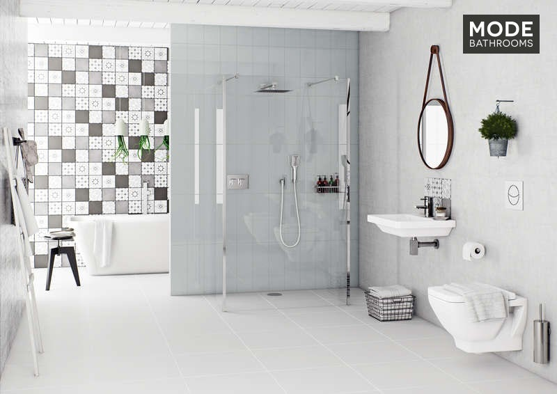 Patchwork pattern grey matt tile