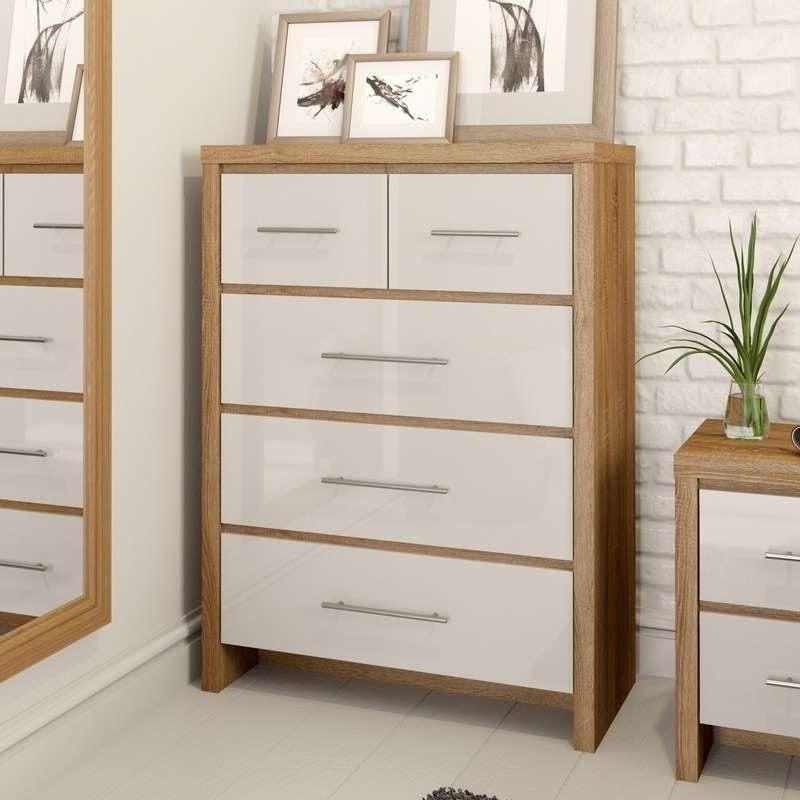 London oak and white gloss 2 over 3 drawer chest