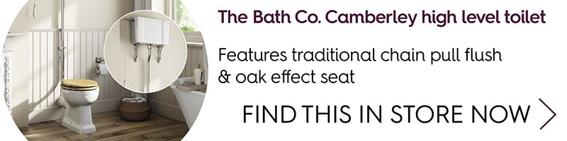 The Bath Co. Camberley high level toilet with wooden soft close seat oak effect