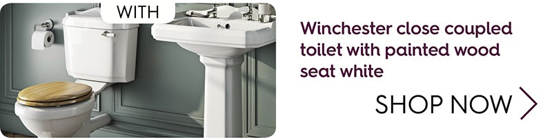 Winchester close coupled toilet with oak effect soft close seat