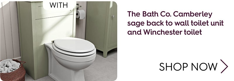 The Bath Co. Camberley sage back to wall toilet unit and Winchester toilet offer
