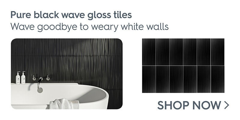 Pure black wave gloss tile 248mm x 498mm