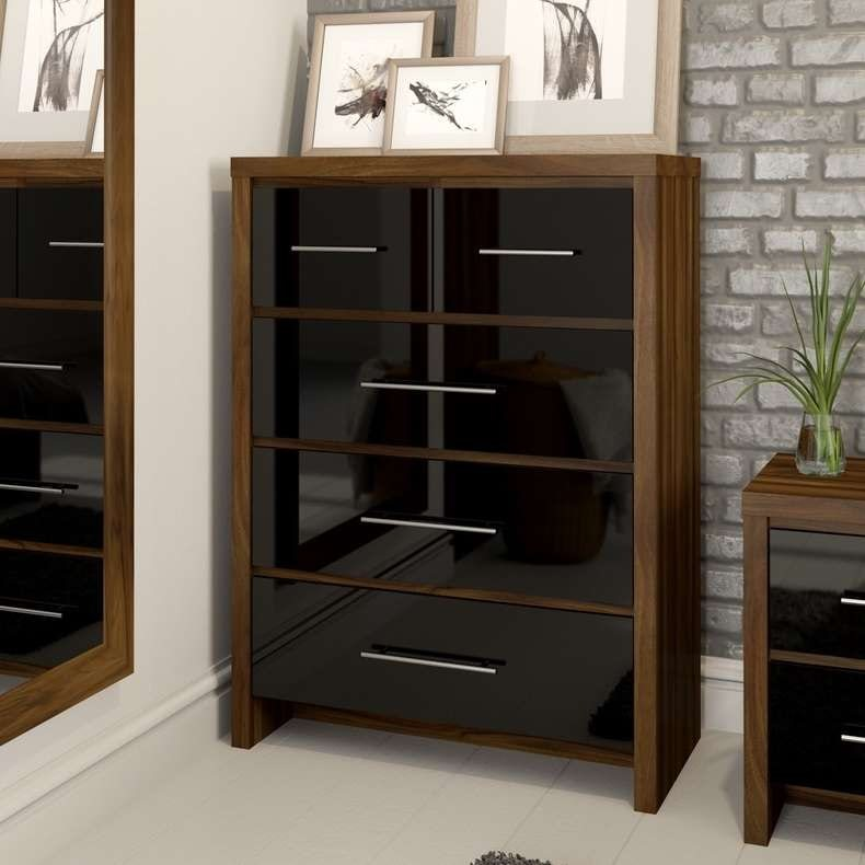London walnut and black gloss 3 + 3 drawer chest