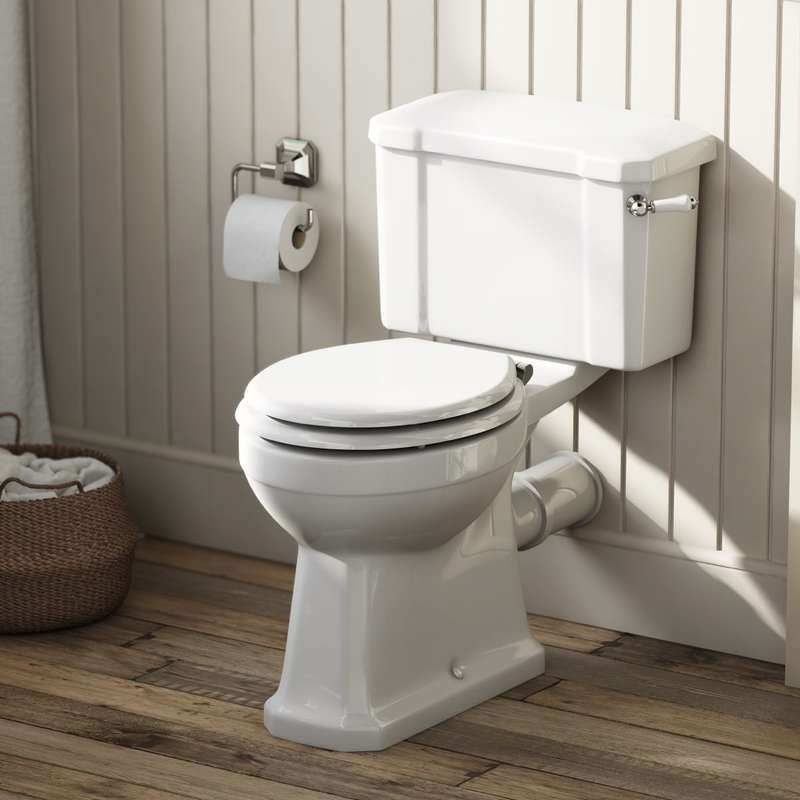 The Bath Co Camberley Close Coupled Toilet With Wooden Soft Seat White
