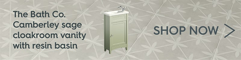 The Bath Co. Camberley sage cloakroom vanity with resin basin