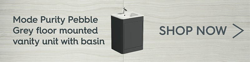 Mode Purity pebble grey floor mounted vanity unit with basin 600mm