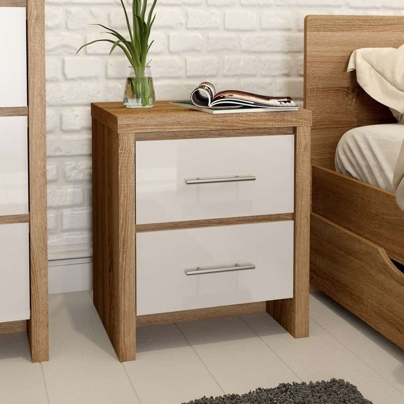 London oak and white gloss 2 drawer bedside