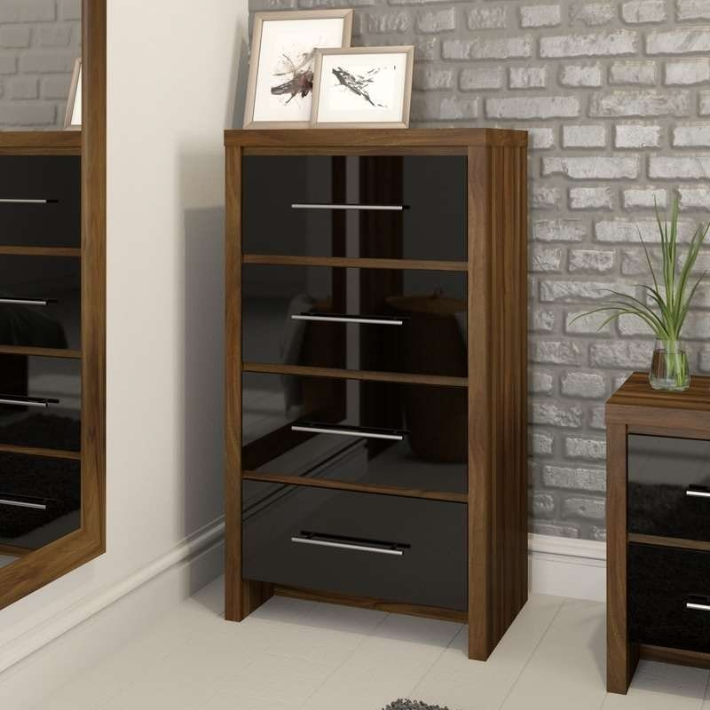 London walnut and black gloss 4 drawer tall chest