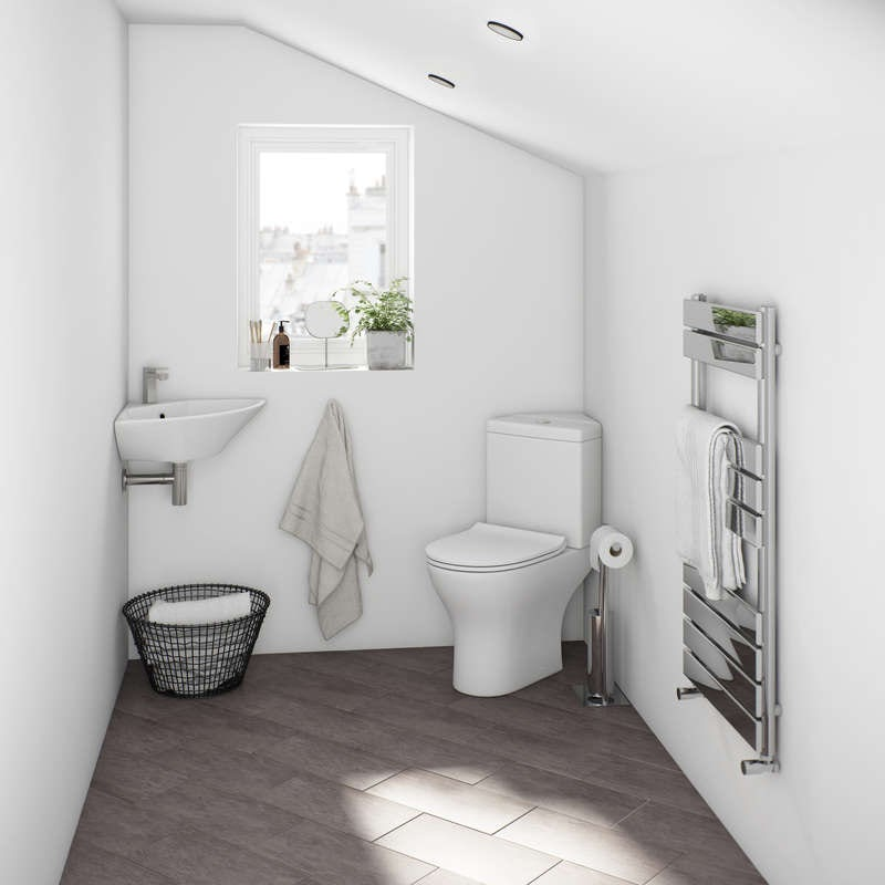 Compact corner cloakroom wall mounted basin