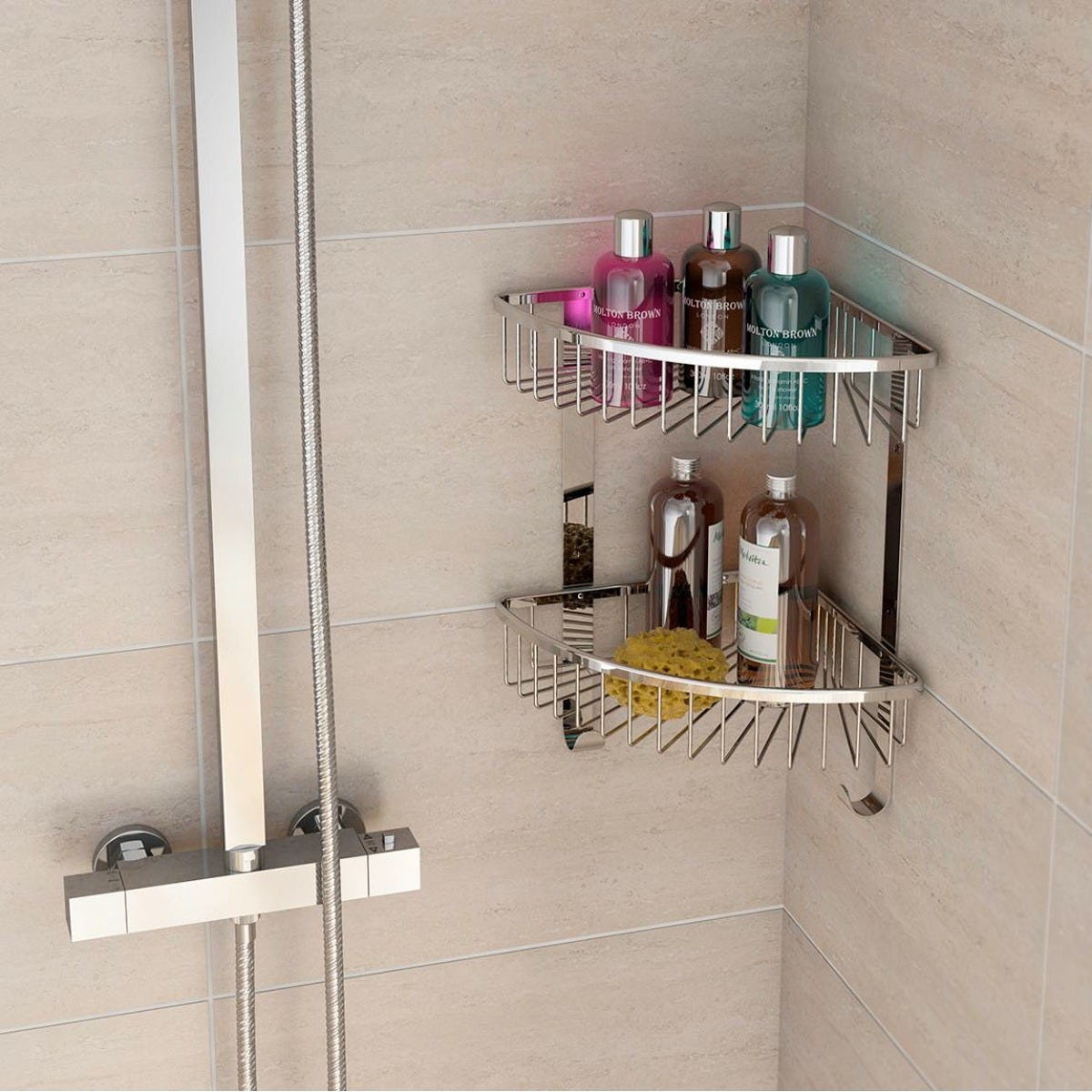 Options brass triple triangular shower caddy