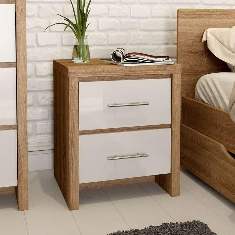 London Oak And White Gloss 2 Drawer Bedside