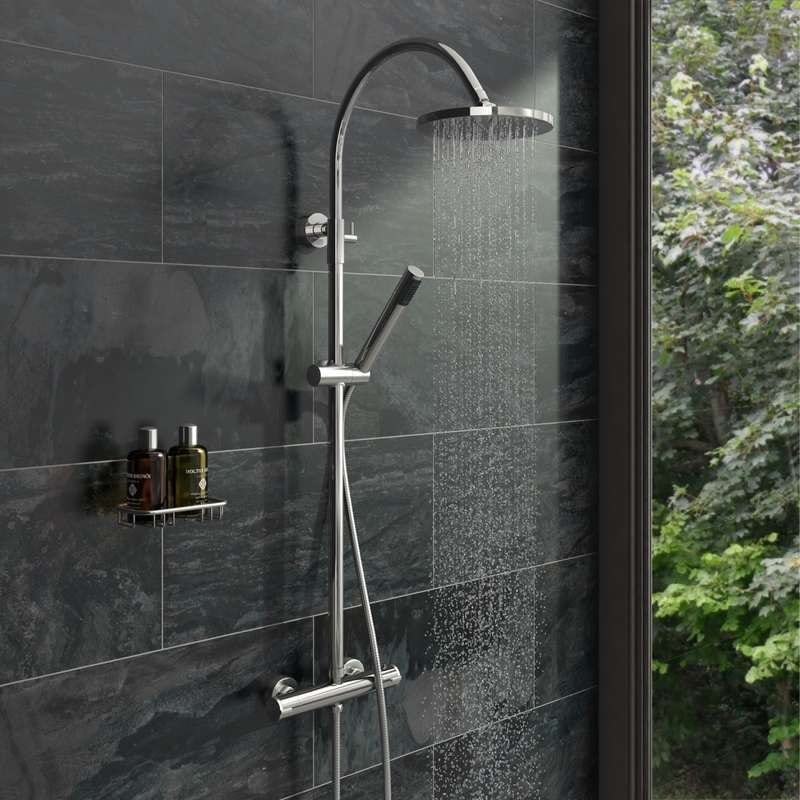Aria round head shower riser system