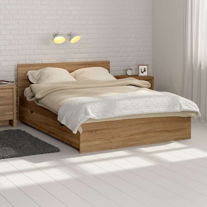 MFI Oak double storage bed
