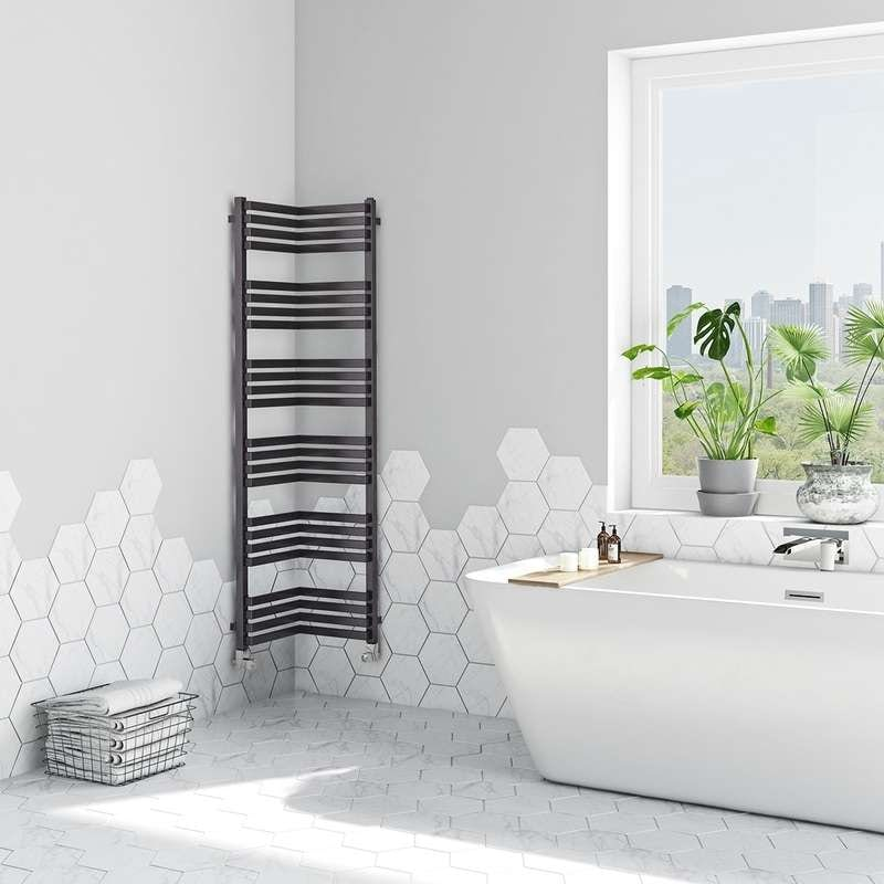 Terma Incorner modern grey heated towel rail 1545 x 350