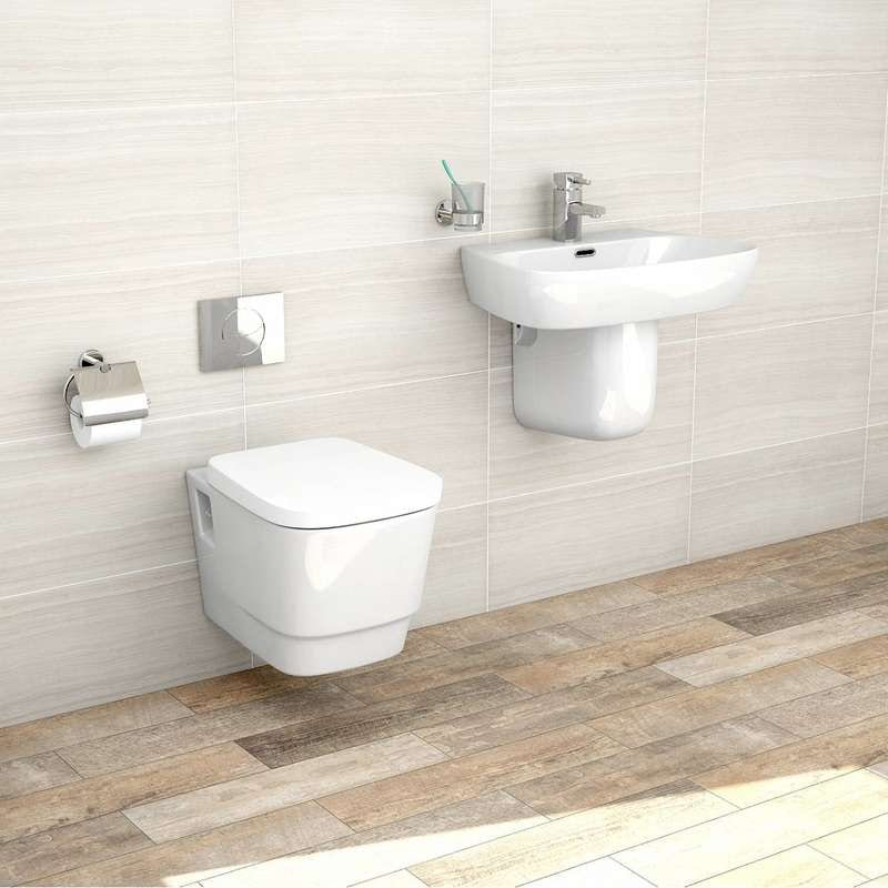 Princeton wall hung toilet suite with semi pedestal basin 600mm