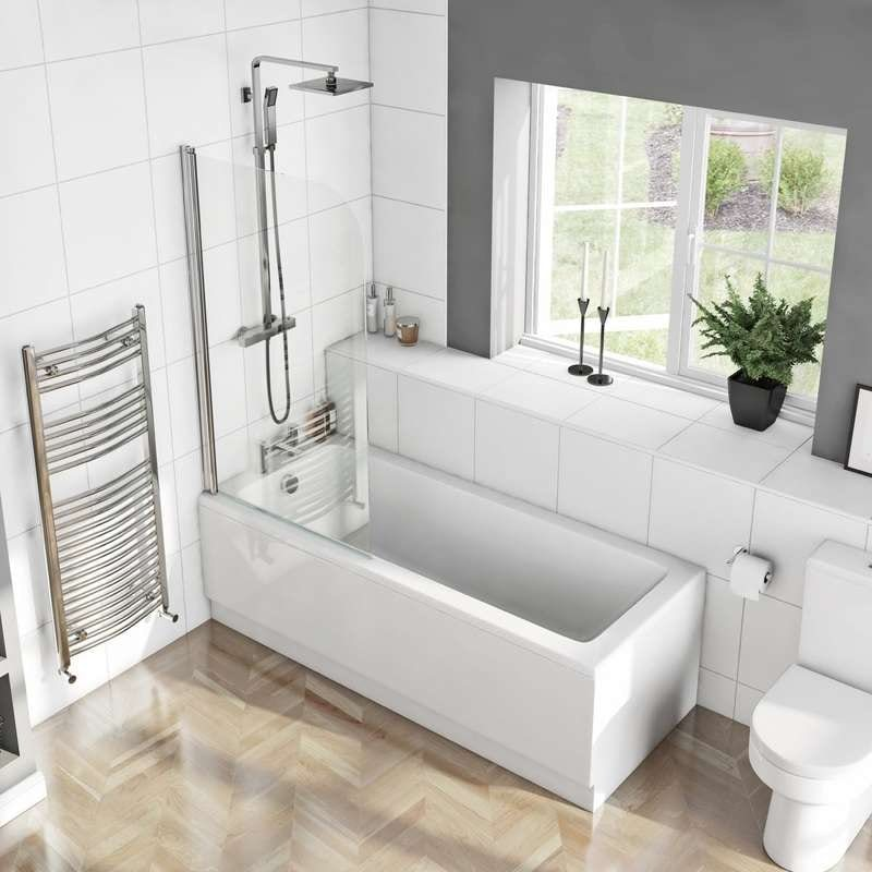 Kensington straight shower bath 1700 x 750 with 6mm shower screen