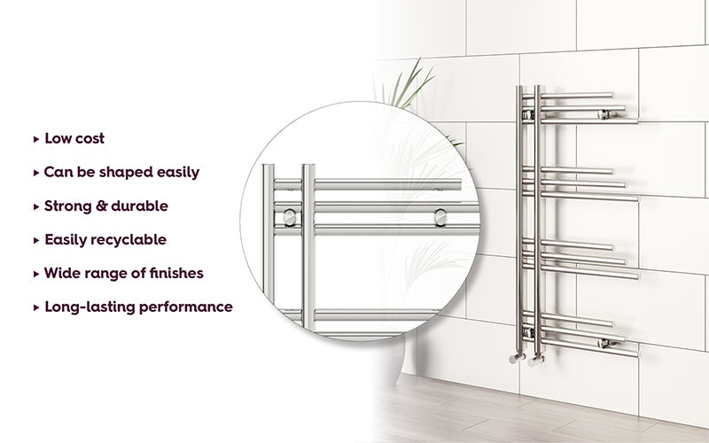 Mode Nessen heated towel rail 950 x 500