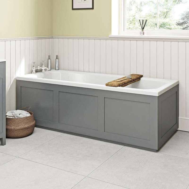 The Bath Co. Camberley grey wooden straight bath front panel 1700mm