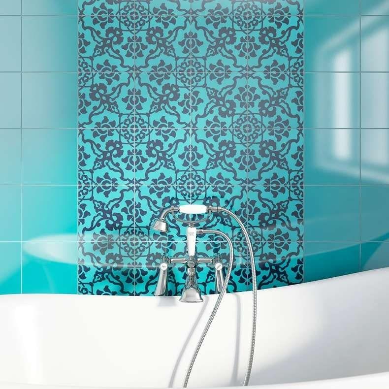 V&A Santiago Décor turquoise gloss tile