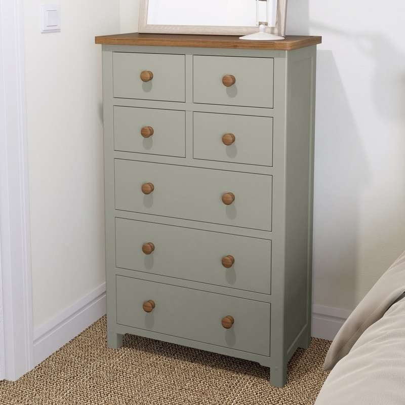 Rome oak and mellow sage 4 over 3 drawer chest