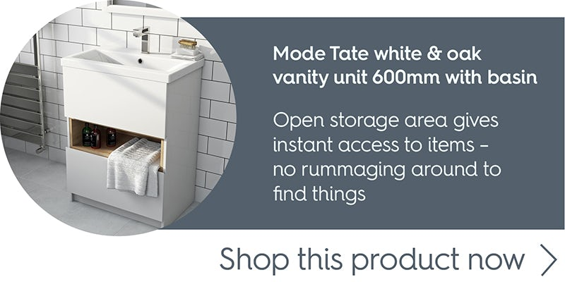 Mode Tate white & oak vanity unit 600mm with basin