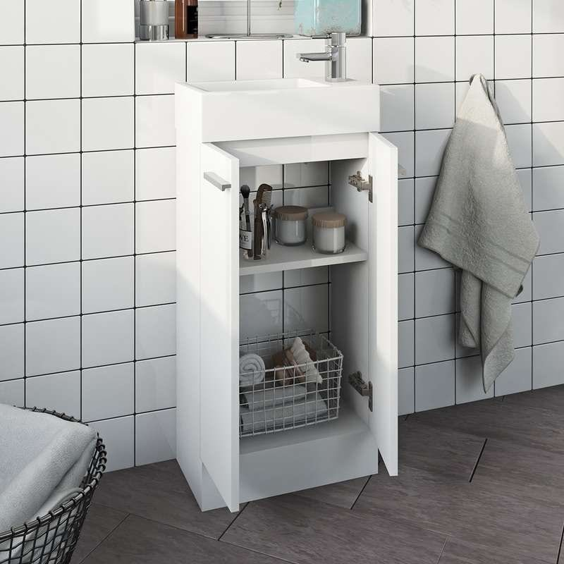 White cloakroom unit with resin basin 410mm
