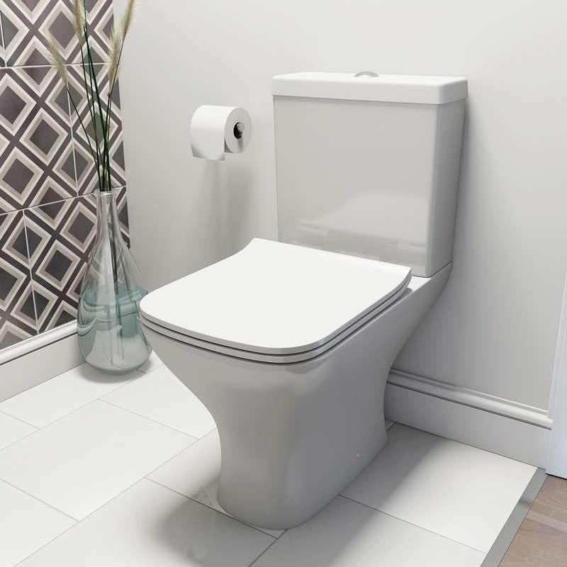 Compact square close coupled toilet with slimline soft close toilet seat