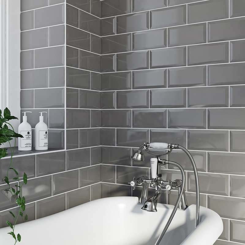 Metro light grey bevelled gloss wall tile