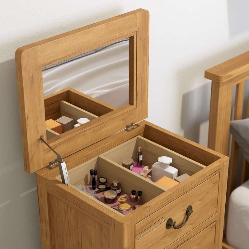 Rome reclaimed pine 5 drawer tall chest with mirror