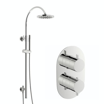 Mode Matrix thermostatic shower valve with wall riser rail set