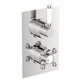 Traditional square twin thermostatic shower valve offer pack